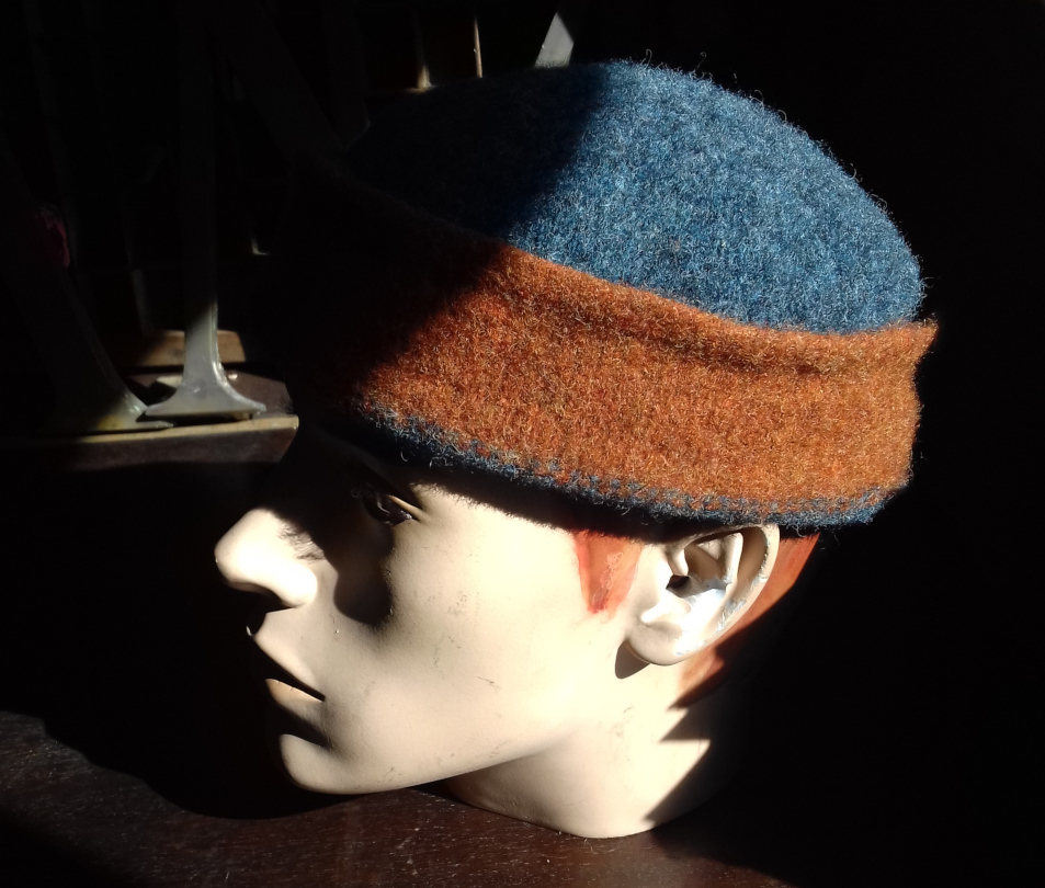 Red and blue flat-top hat