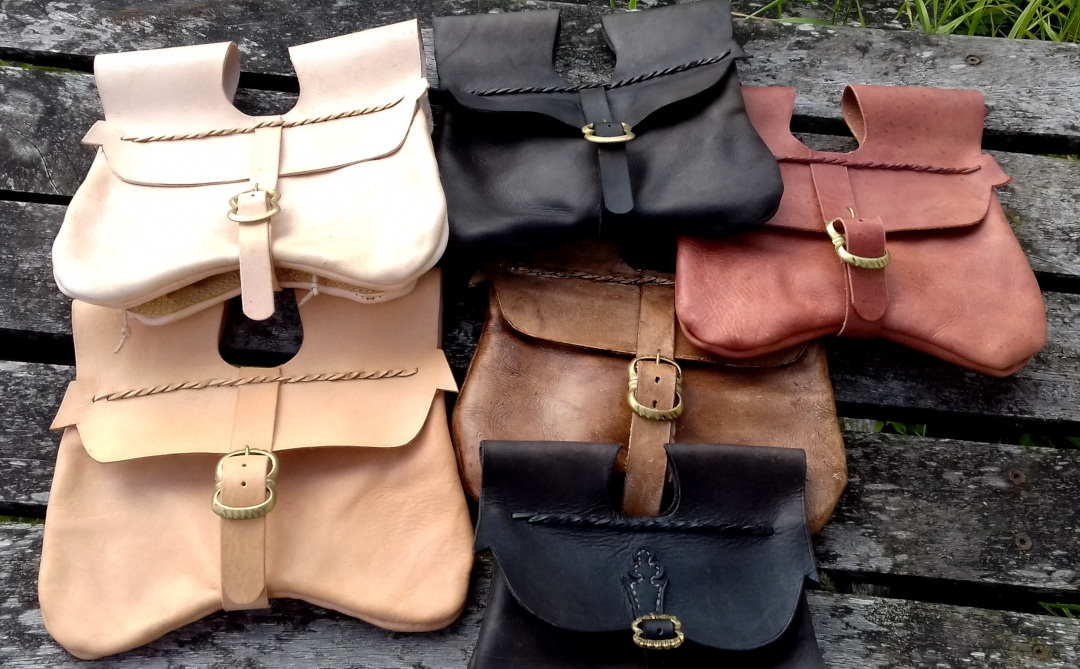 Large medieval pouches in a range of colours