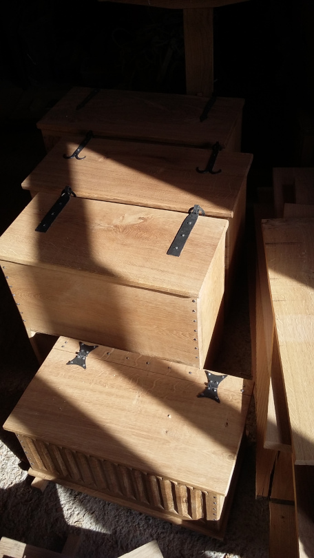 Wooden boxes with iron hinges